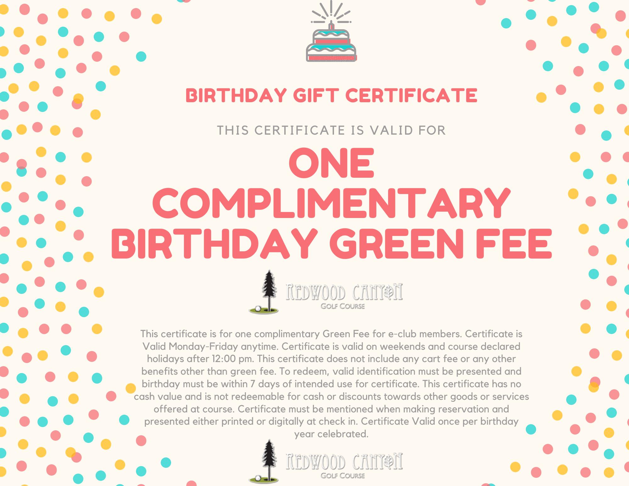 birthday green fee